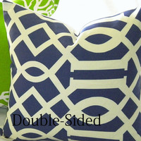Designer Navy Indoor/Outdoor  pillow cover 20 x 20 Double Sided