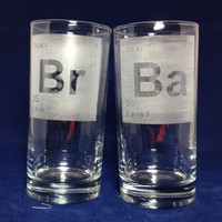 Breaking Bad Elements Set of TWO Etched Pint Glasses