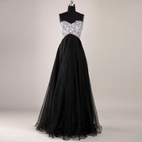 FancyGirl  Gorgeous Black A-Line Floor-Length Prom Dresses