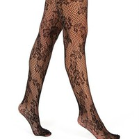 Black Romantic Floral Lace Tights