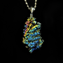 Tree of Light,  Iridescent Bismuth Crystal and Sterling Silver Pendant for your necklace, Unique, Fractal, Artistic Jewelry