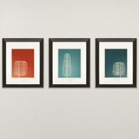 Mid Century Trees  3 Piece  11x14 Art Print  wall art by noodlehug