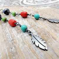 feather southwest rustic tribal long by SharonClancyDesigns