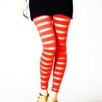 Multi Leggings/Tights - Sunset Orange Striped Mesh Leggings | UsTrendy