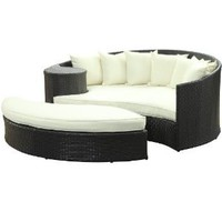 Amazon.com: LexMod Taiji Outdoor Wicker Patio Daybed with Ottoman in Espresso with White Cushions: Patio, Lawn & Garden