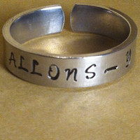 Doctor Who Inspired  Ring  -  ''ALLONS-Y''  Aluminium Cuff  Ring - Hand Stamped