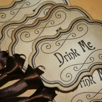 Alice In Wonderland Drink Me/Eat Me Tags or Labels - Vintage Appearance - Set of 10