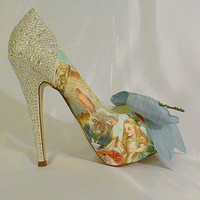 Alice in Wonderland theme wedding shoes ..  bespoke custom design Swarovski heels
