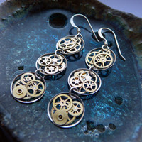 Steampunk Earrings Gearrings Omega Triple by amechanicalmind