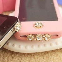 Amazon.com: A set of bling crystal anti dust, home button sticker, dock charge antidust for iphone 4S: Cell Phones &amp; Accessories