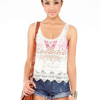 Crochet Layering Tank Top in Ivory :: tobi