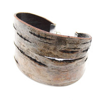 Eco friendly birch bark cuff bracelet, Tigre