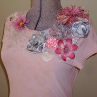 Embellished T Shirt  Pink, Handmade Flowers and Lace,  Shabby Urban Chic Upcycled