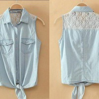 Button-Up Lace Denim Shirt With Knot