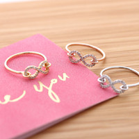 hooked simple INFINITY ring with crystals, 3 colors | girlsluv.it