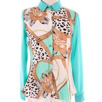 Mint Leopard Printed Blouse   Tanny&#x27;s Couture LLC