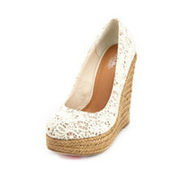 Floral Crochet Jute Wedge Pump: Charlotte Russe