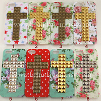 floral case studded case Iphone 5 Case cross studded by belindawen