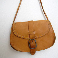 Vintage Brown Leather Purse Small Mini Long Camel Brazil Bag Pouch Bohemian