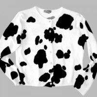 Cow Print Tacky Ugly Cardigan Sweater Women's Size Large (L)