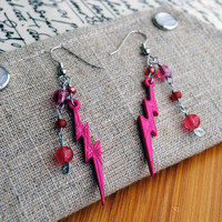 Fuchsia Lightning Bolt Earrings Pink Beaded Jewelry
