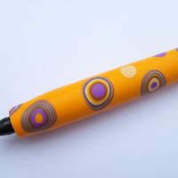 Polymer Clay Covered Ink Pen, Bic Pen, ball point pen, marigold yellow