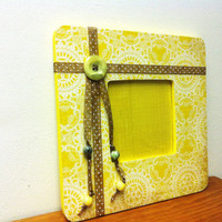 Yellow 8x8 Picture Frame w/Ribbon and Beads