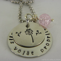Alis Volat  Propriis hand stamped metal necklace  with pink bead