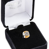 LogoArt Boston Bruins Sterling Silver Premier Crystal Bead