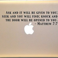 Macbook Matthew 7:7 Bible Verse Decal Mac Laptop