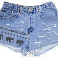 Tribal Aztec Elephant Waves Shorts Hand Painted Vintage Distressed High Waisted Denim Boho Hipster Medium Large W30