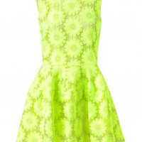 Starry Floral Embroidered Silk-blend Dress Green