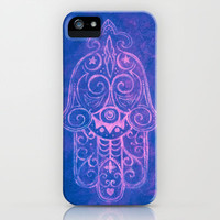 Hamsa in Cobalt Blue iPhone Case by Jezebel Art