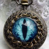 Eye pocket  watch, steampunk dragon eye pocket watch in antique bronze