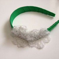 Fancy White Flower on Green Headband Handmade Hair Bow Accessory