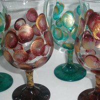 Hand painted abstract wine goblets of big by PaintedDesignsByLona