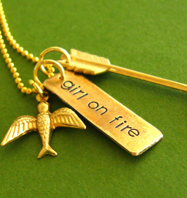 Hunger Games Necklace Girl on Fire Mockingjay by SpiffingJewelry