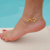 LOVE Anklet  Gold Plated Tiffany &amp; co inspired by DeliBejeweled