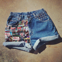 New STARWARS vintage studded high waist cuffed shorts
