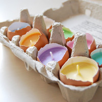 Easter Candles - Real Eggshells Candles Set Of 10 Vegetable Wax Candles Eco-friendly