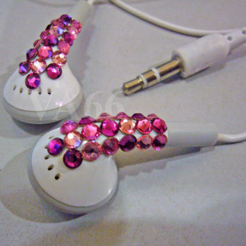Bling Bling Studded White Ear Buds Pinks Swarovski by vcreations