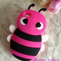 *Animal* 3D Peach Pink Happy Bee Cute Silicon Back Cases/Cover for iphone 4 4S