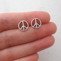 tiny peace sign studs - antiqued silver peace sign earrings