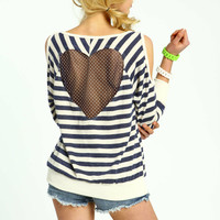 Nautical Heart Cut-Out Open Shoulder Pull Over