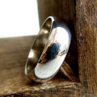 Wide Sterling Silver Ring Smooth Band Mens or Ladies Plain Ring
