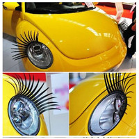 a pair Cool Fashion Car Eyelashes PVC Logo Stickers Lashes Decal Accessories