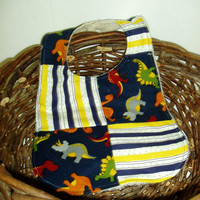 Patchwork Baby Bib - Dinosaurs and Stripes