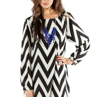 Forever Zig Zag Long Sleeve Shift Dress in Classic - ShopSosie.com
