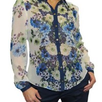 Amazon.com: (4003) Sexy Chiffon Floral Shirt Blouse Blue: Clothing