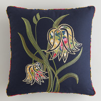 Bellflower Embroidered Throw Pillow